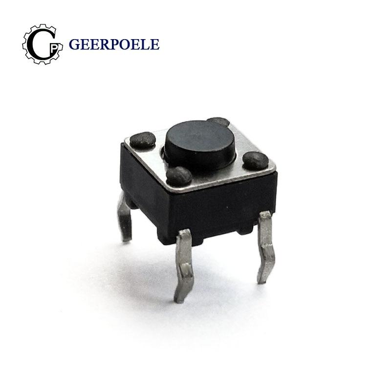 100 unids/lote 6*6*4,5mm DIP 4 PIN 12V 0.5A Interruptor de botón táctil Plug-in directo auto-reinicio Micro Interruptor