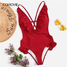 COLROVIE Red Ruffle V Neck Criss Cross Backless Sexy One Piece Swimwear Bodysuit Women Monokinis 2019 Bathing Suits Beachwear