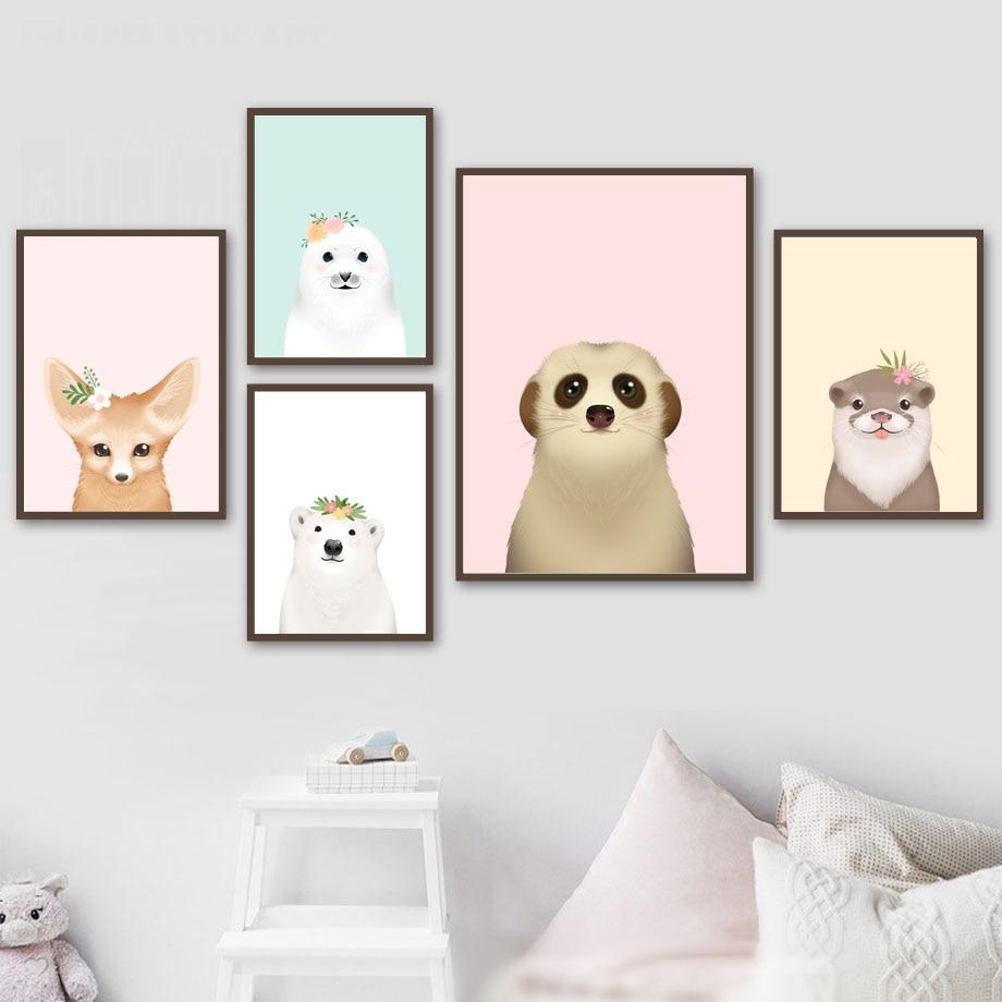 Dibujos Animados Oso de ganso zorro sello Lemur Animal carteles nórdicos e impresiones cuadro sobre lienzo para pared imágenes para decoración de la habitación de los niños