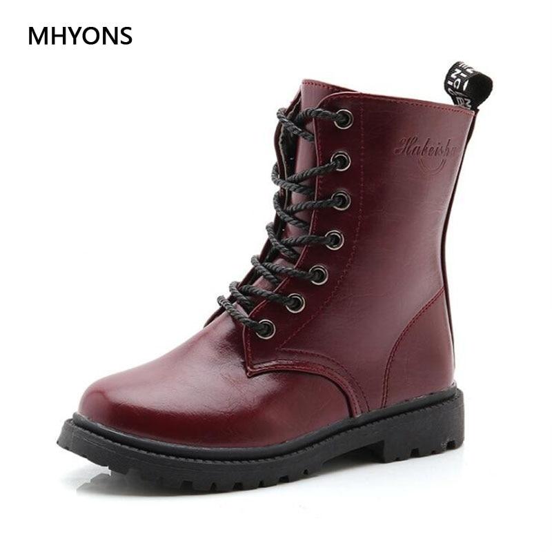 MHYONS 2019 Autumn Girls Boots Kids British Style Fashion Martin Boots Winter Girls High Cylinder Waterproof Boots Boys Shoes B3