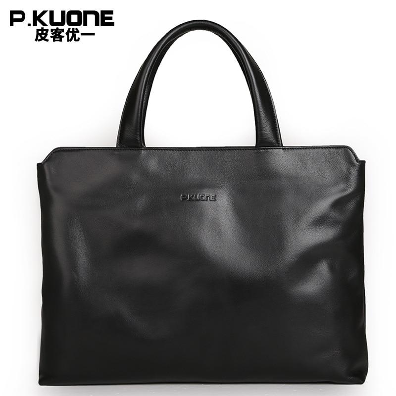 P. Kuone diseñador marca 100% cuero de vaca para hombres bolsos de cuero genuino para hombre Maletín de negocios bolsos de mensajero para hombres regalo para hombres