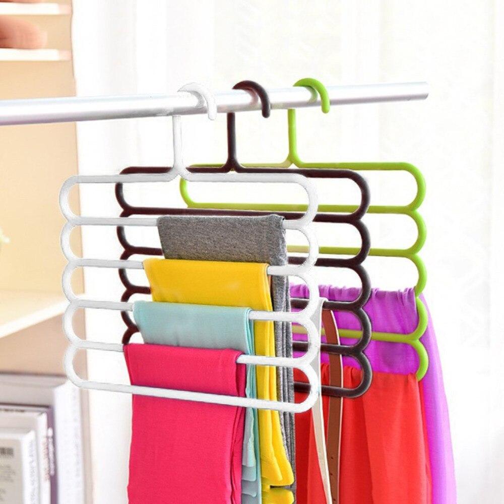 5 capas antideslizante MagicTrousers percha multifunción PP pantalones armario cinturón soporte estante tipo S cuarto de baño ahorro espacio