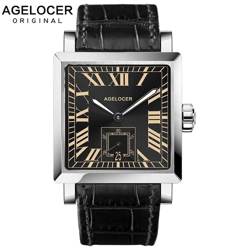 AGELCOER العلامة التجارية مقاوم للماء ساعة أوتوماتيكية الرجال الذكور مربع سوبر لومينوفا الأسود ساعة اليد ساعات آلية مع تاريخ التقويم