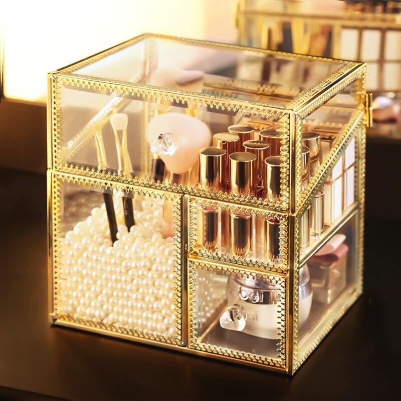 Europa Kupfer Rand Glas Mit Deckel Lagerung Box Make-Up Pinsel Lippenstift Halter Schmuck Organizer Desktop Schublade finishing Container