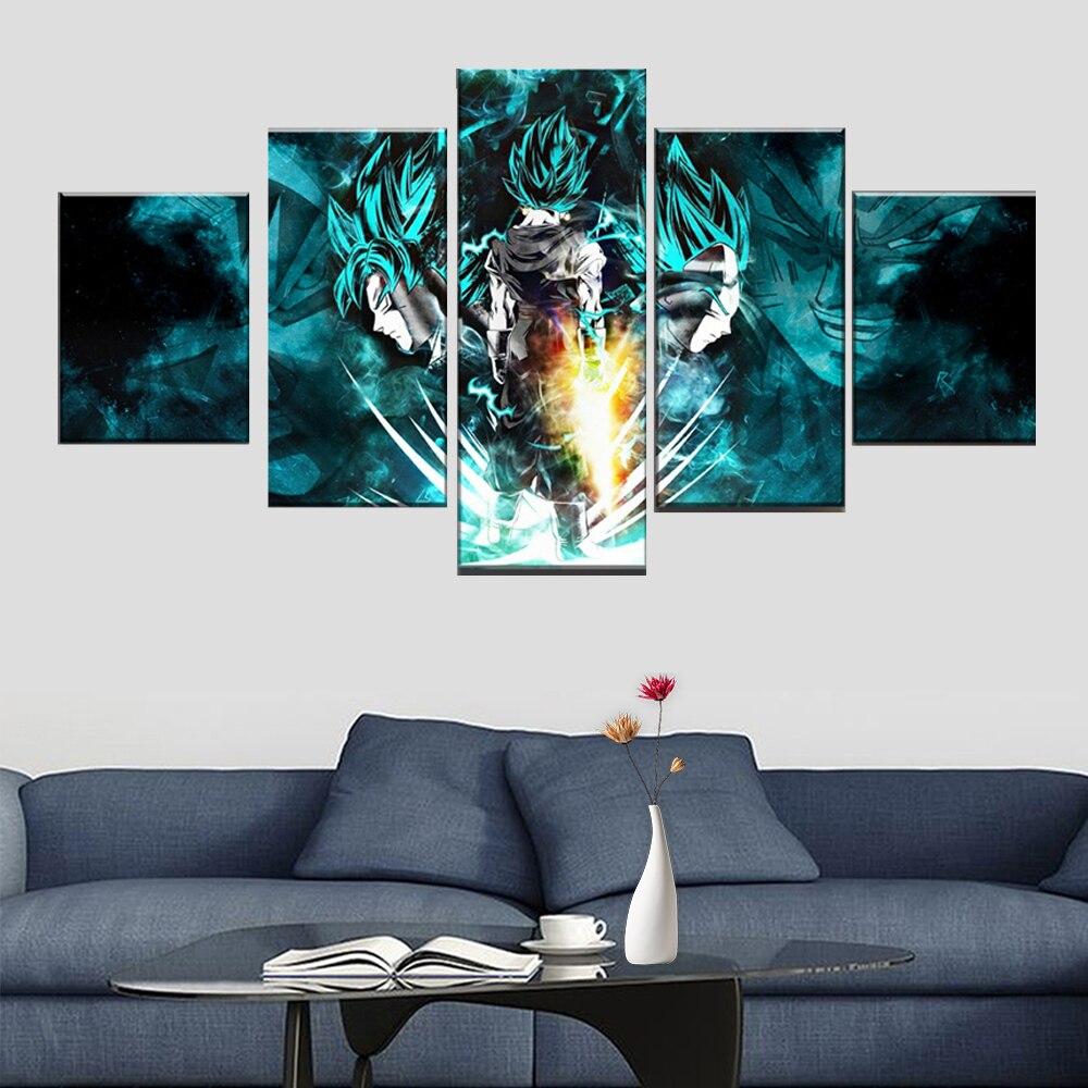 Dragon Ball Goku Y Vegeta pared artística moderna 5 piezas lienzo pintura dormitorio sala de estar ilustraciones decorativas