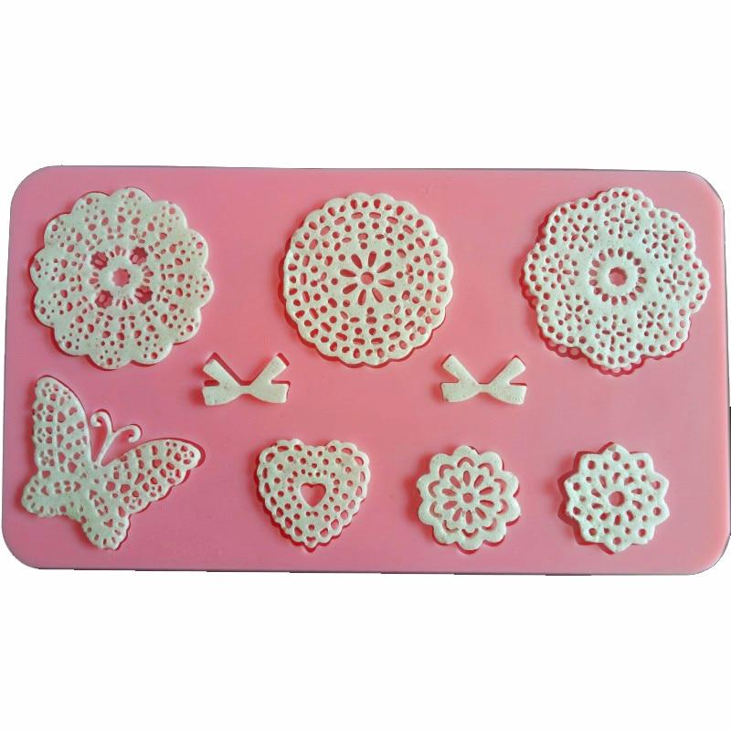 Frete grátis borboleta pegar flores rendas ferramentas de cozinha silicone fondant decoração do bolo de argila polímero resina doces diy esculpir