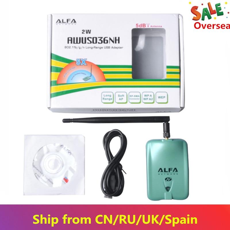 KuWFi Alfa USB Wifi Adapter AWUS036NH Ralink3070 Wifi Receiver 2000mw 150Mbps Wireless USB Wifi Network Card for PC/Laptop