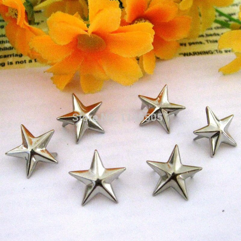 50 pçs 15mm metal prata chapeado estrela rebite pino do punk diy dropshipping punk rebite para roupas decorativas