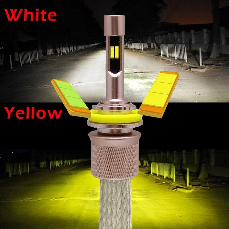 Xplus Dupla Cor Amarelo Branco 3000K 6000K 9600lumens 4800Lm * 2pcs Carro LEVOU Kit Farol H1 H3 H4 H7 H9 H11 9004 HB1 HB3 HB4