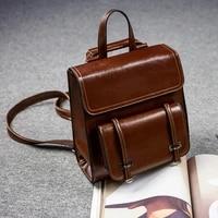 2020 vintage genuine leather school bags for women backpack luxury brand designer ladies shoulder rucksack waterproof travel bag