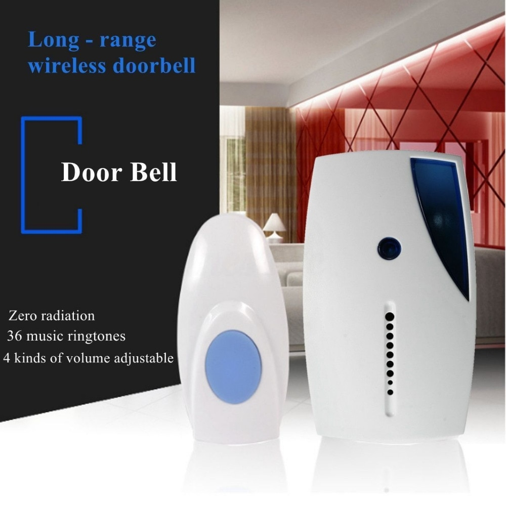 Smart LED Indication Wireless Doorbell 36 Tunes Chime Music Door Bell Transmitter + Receiver 70-110M