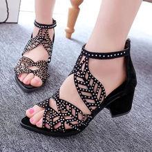 Talons hauts femmes sandales creux strass plate-forme sandales épais haut talon loisirs PU cheville-Wrap sandales femme