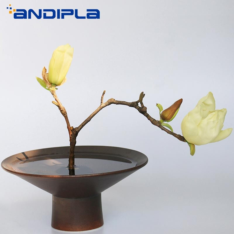 Zen negro cerámica gruesa florero base alta maceta escritorio bonsái hidropónico plantadores de cerámica estilo japonés Ikebana