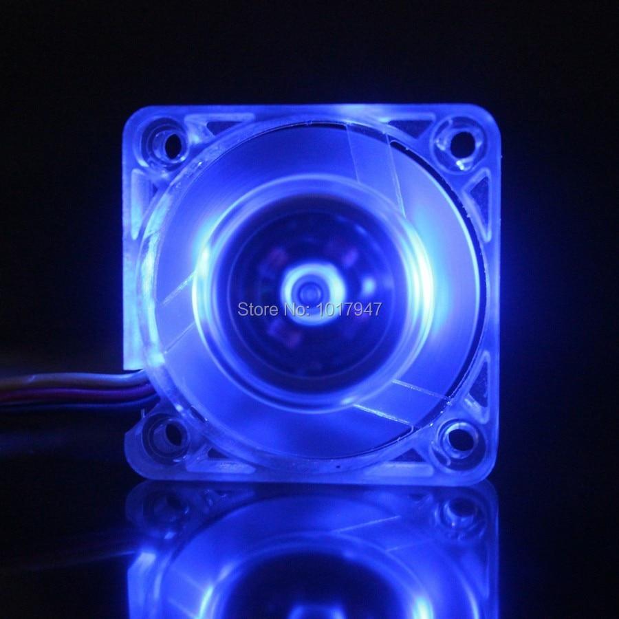 Lote de 2 unidades Gdstime Blue LED DC 12V 3 cables, disipador de calor transparente, ventilador de refrigeración sin escobillas 40mm 40x40x10mm 4010S