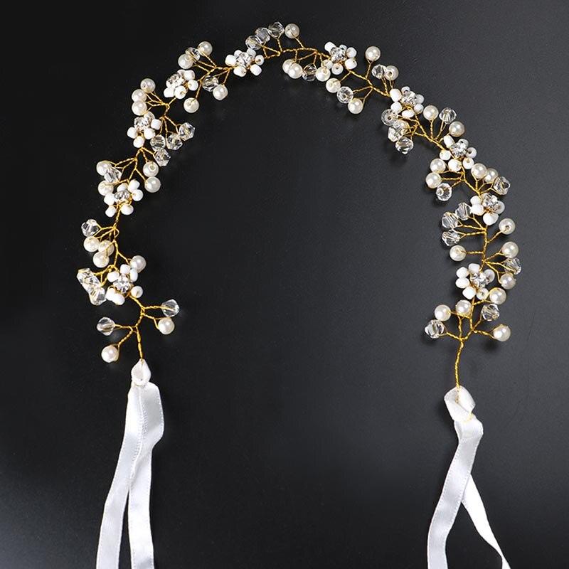 Joyería para el cabello para mujeres, banda para el pelo de perlas de cristal, encantadoras diademas para niñas, Tiara nupcial, corona, accesorios para la decoración del cabello para bodas