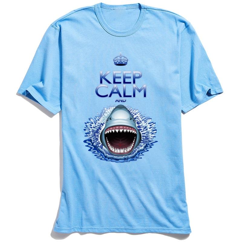 Crazy 3D T-shirt Men Keep Calm And Shark Jaws Attack! Tshirt Summer Holiday Streetwear Guys 100% Cotton Tops Tees Letter T Shirt