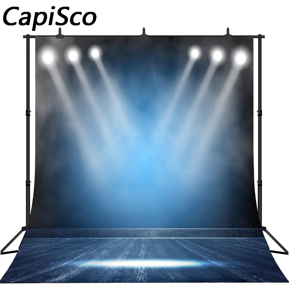 Fondo fotográfico de vinilo personalizado para estudio fotográfico con escenario de suelo de madera y cortina de Capisco bule