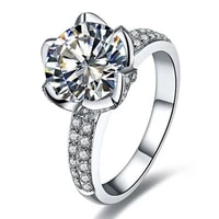 test positive 18k white gold 2ct moissanite diamond lotus ring engagement solitaire with accents brand ring jewelry 18k women