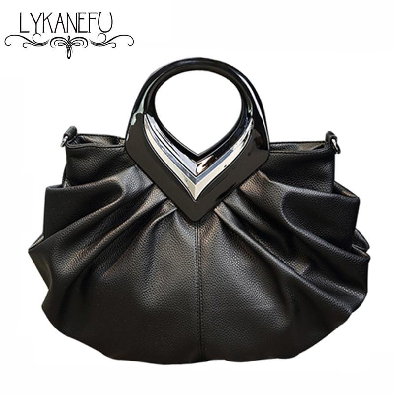 LYKANEFU Women Handbags High Quality Tote Bag for Women Black Fashion Clip Hobos PU Leather Handbag Designer Bolsa Feminina