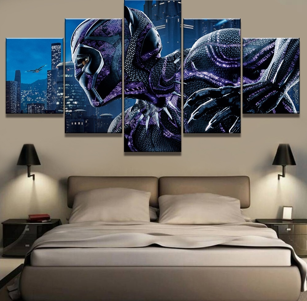 Cartel de pantera negra de 5 piezas de arte de lona, pinturas decorativas modernas sobre lienzo, arte de pared para el hogar, decoraciones de pared, arte decorativo