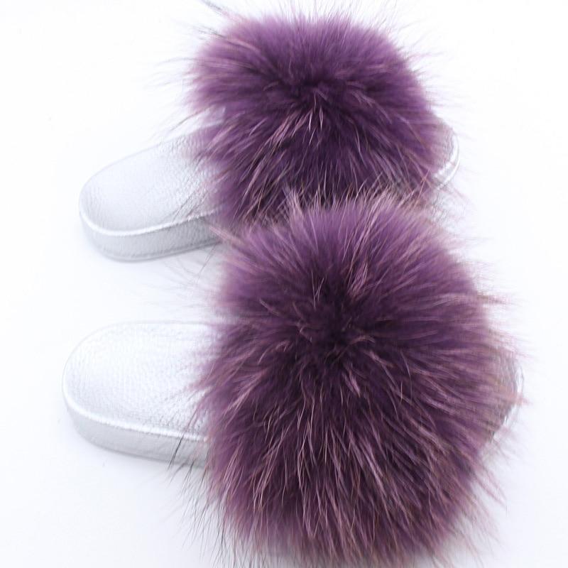 ZDFURS *2018 Luxury Genuine Fox Fur Flat Shoes Women Fashion Fur Sandal Shoes Handmade Female Slides Indoor Outdoor Slippers