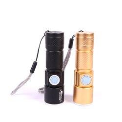 Portátil usb poderoso led mini lanterna recarregável tocha usb flash luz bicicleta bolso led zoomable lâmpada embutida na bateria q5