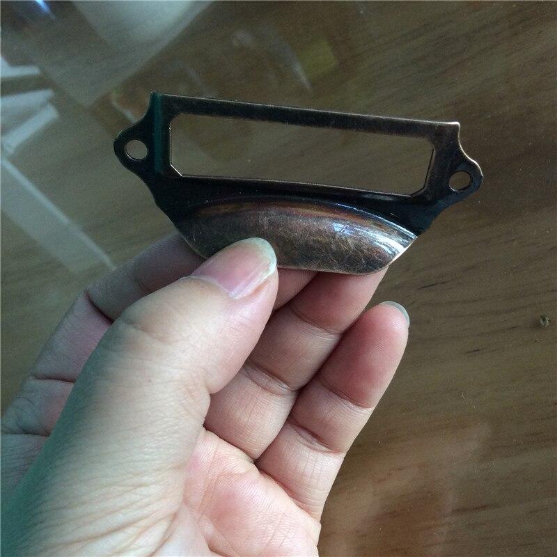 40 Uds 69*29mm rojo bronce de Metal armario con cajones de cocina puerta tirador de mueble perillas armario de etiqueta manijas de titular de la tarjeta