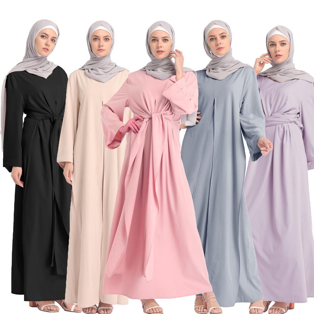 Fashion Muslim Abaya Full Dresses Kimono Long Robe Gowns Loose Middle East Ramadan Islamic Bandage Turkey Vintage Kaftan