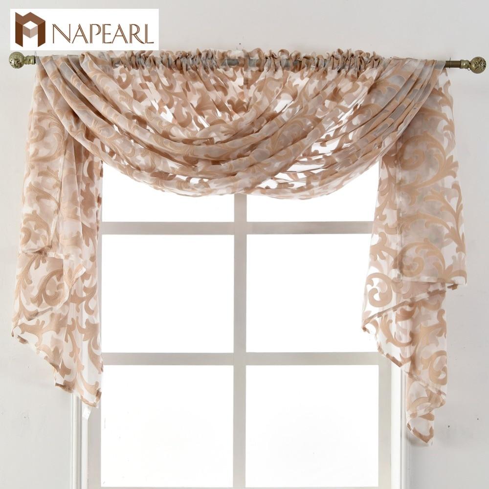 Napearl estilo europeu tule cortina casa sheer painel janela da sala de estar novo tratamento cortina jacquard organza tecido