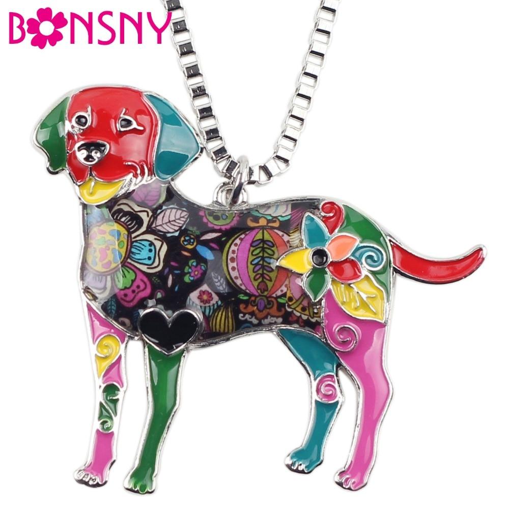 Bonsny Statement Maxi Alloy Enamel Labrador Dog Choker Necklace Chain Pendant Collar 2017 Fashion New Enamel Jewelry Women