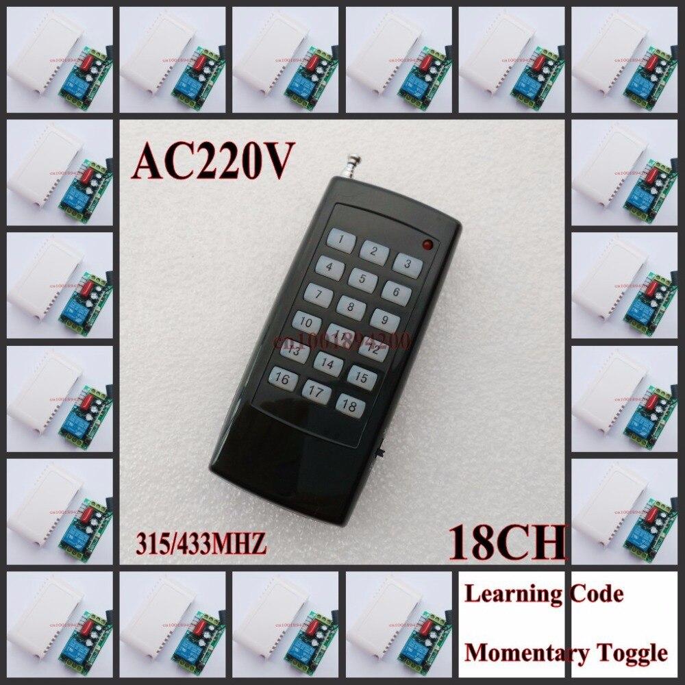 AC 220 V 18CH مفتاح بالتحكم عن بعد 10A التقوية استقبال الارسال 315/433 RF LED المصباح الكهربي الإضاءة اللاسلكية التبديل الذكية المنزل نسأل