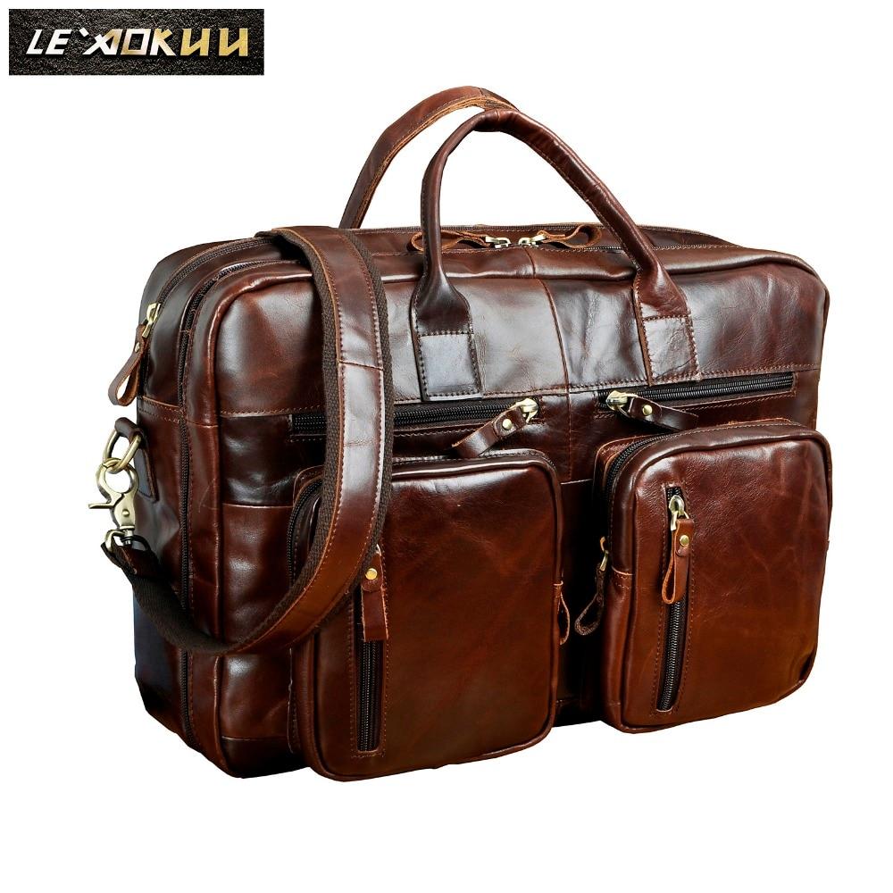 Men Oil Waxy Leather Antique Design Business Travel Briefcase Laptop Bag Fashion Attache Messenger Bag Tote Portfolio Male k1013