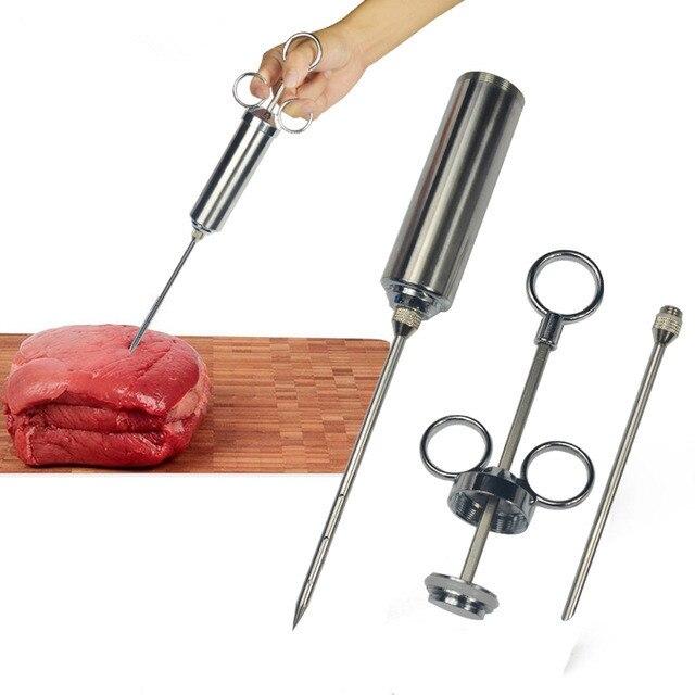 1 sazonador de sabor de alimentos, jeringa de carne para barbacoa, Kit de inyector de adobo, pistola de inyección con 2 agujas para pollo de cerdo, pavo, QA 117