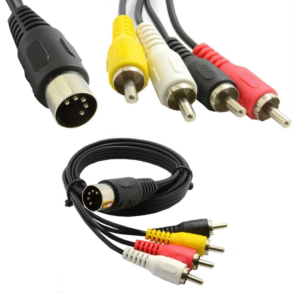10 unids/lote 5 Pin macho conector Din a 4 x RCA Phono macho enchufes de Cable de Audio de 0,5 m 1,5 m