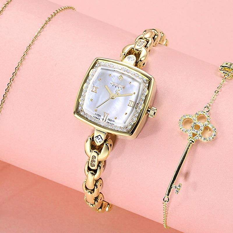 Top Julius Lady Women's Watch Japan Movt Fashion Hours Dress Rhinestone Shell Bracelet Chain Business School Girl Birthday Gift
