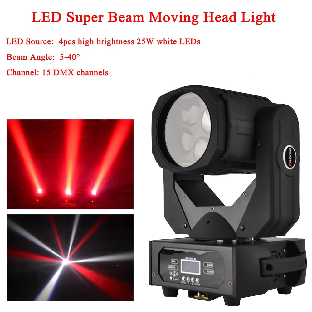 Free Shipping 2021 LED Super Beam Moving Head Light 4x25W White Colorful Led Lamp For Disco Nightclub DJ DMX Party Stage Lights