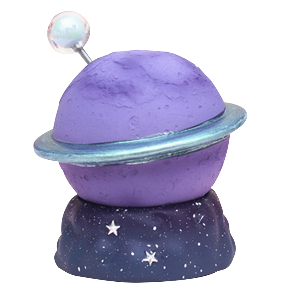 Planet Night Light Starry Led Lamp Resin Crafts Tabletop Decoration Planet Ornament Bedside Light Purple