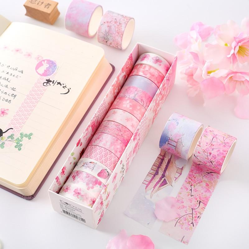 Fleurs de cerisier rose Kawaii planificateur manuel papier décoratif Washi ruban de masquage fournitures scolaires papeterie