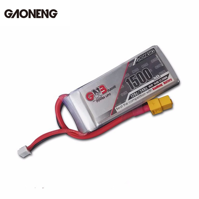 Gran oferta Original Gaoneng GNB 14,8 V 1500mAh 4S 120C/240C recargable batería de Lipo para FPV RC Quadcopter de Marco DIY