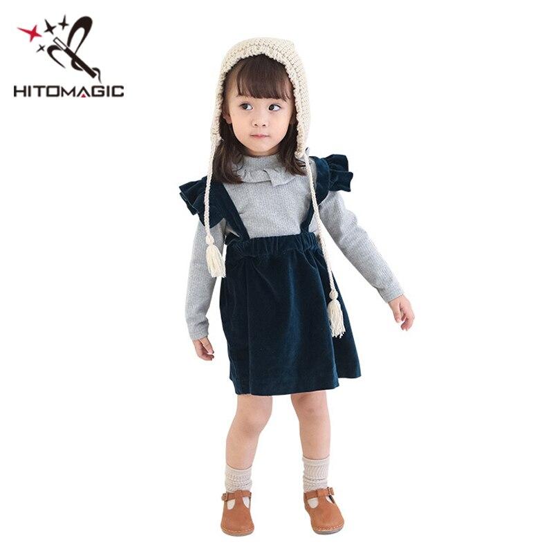 HITOMAGIC Meninas Roupas de Outono 2018 Crianças Vestido Da Menina Do Bebê Para A Festa de Casamento Azul da Correia de Veludo Crianças de Inverno Vestido de Princesa Bonito