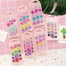 10 pièces/ensemble dépingles à cheveux   Avec nœud imprimé, pour enfants, couvre-chef, ensemble de Clips colorés BB pour filles, peinture Mini Clips en forme de goutte, accessoires pour cheveux