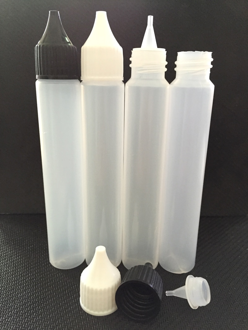 10PCS Unicorn 15ml 30ml PE Dropper Bottle For E-liquid E-Juice Pen Shape With White Black Child Proof Caps Empty Plastic Bottles