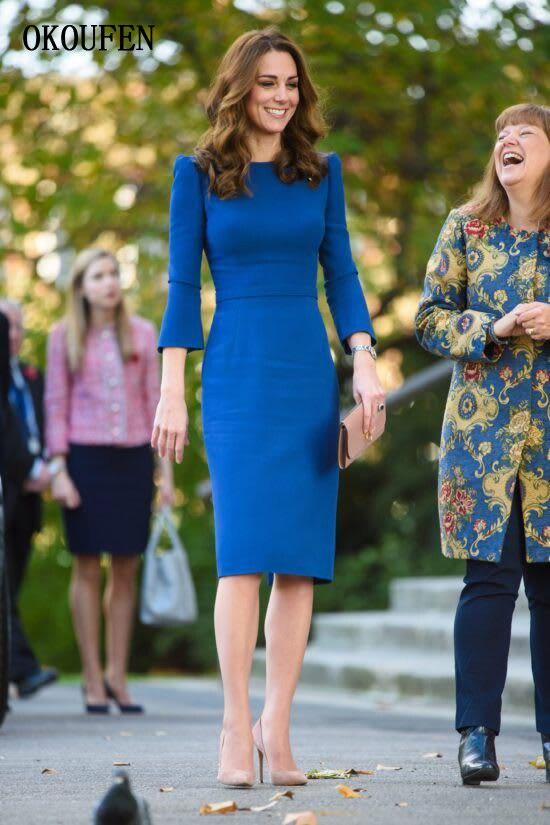 أم العروس العريس فساتين الزفاف 2019 الدانتيل طويلة الأكمام الخامس الرقبة الأزرق الملكي الحرير عارية الذراعين vestido دي madrinha farsali