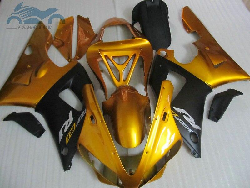 طقم انسيابية ABS للدراجات النارية ، مناسب لـ YAMAHA 2000 2001 YZFR1 YZF R1 00 01 ، قطع غيار ذهبية سوداء