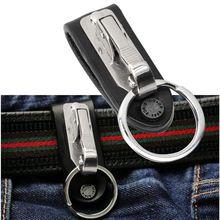 1 PC excellente qualité en cuir en acier inoxydable détachable porte-clés taille ceinture Clip Anti-perte boucle pendaison clé porte-anneau