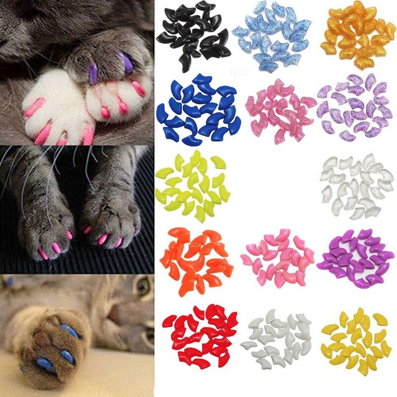 Tapas de uñas suaves para mascotas de 20 piezas, tapas de garras para el cuidado de las uñas de perros y gatos, tapas de 1 TIPO, 1 unidad de pegamento adhesivo, suministros para mascotas