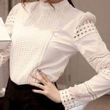2019 Lace Chiffon Blouse Women Shirt Plus Size Casual ladies long sleeve Womens Tops and Blouses S-5