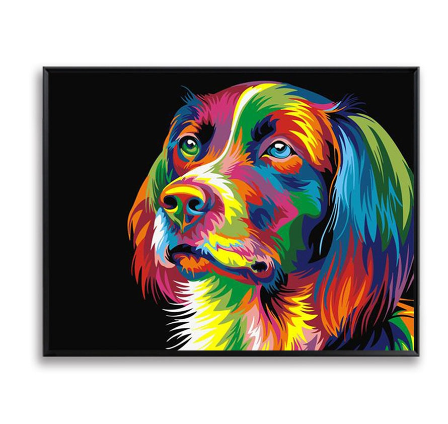Красочные собаки головы животных DIY живопись по номерам настенная художественная Краска на холсте картина маслом домашний декор скандинав...