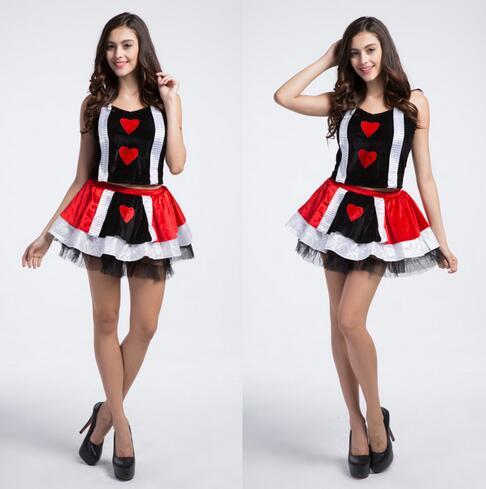Disfraz de reina de corazones para Mujer, traje Sexy de moda, Cosplay de Halloween, CE279