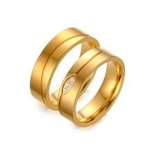 Vnox or-couleur de mariage anneau pour les femmes/hommes cz pierre anel de compromisso alianca de casamento